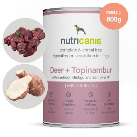 Hypoallergenes Nassfutter Hund Adult: 800g Hirsch + Topinambur mit Mariendistel