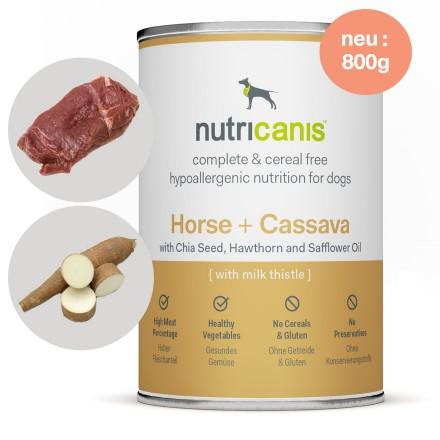 Hypoallergenes Nassfutter Hund Adult: 800g Pferd + Cassava mit Mariendistel