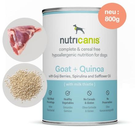 Hypoallergenes Nassfutter Hund Adult: 800g Ziege + Quinoa mit Mariendistel