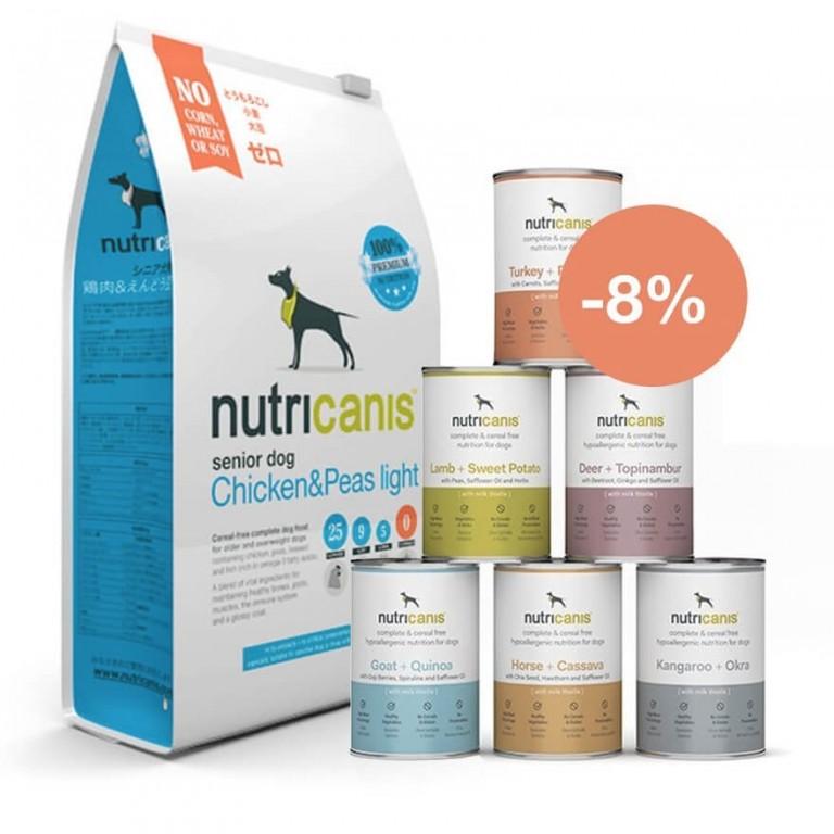 Hundefutter Kennenlernpaket Senior: Trockenfutter (3kg) & Nassfutter (je 800g)