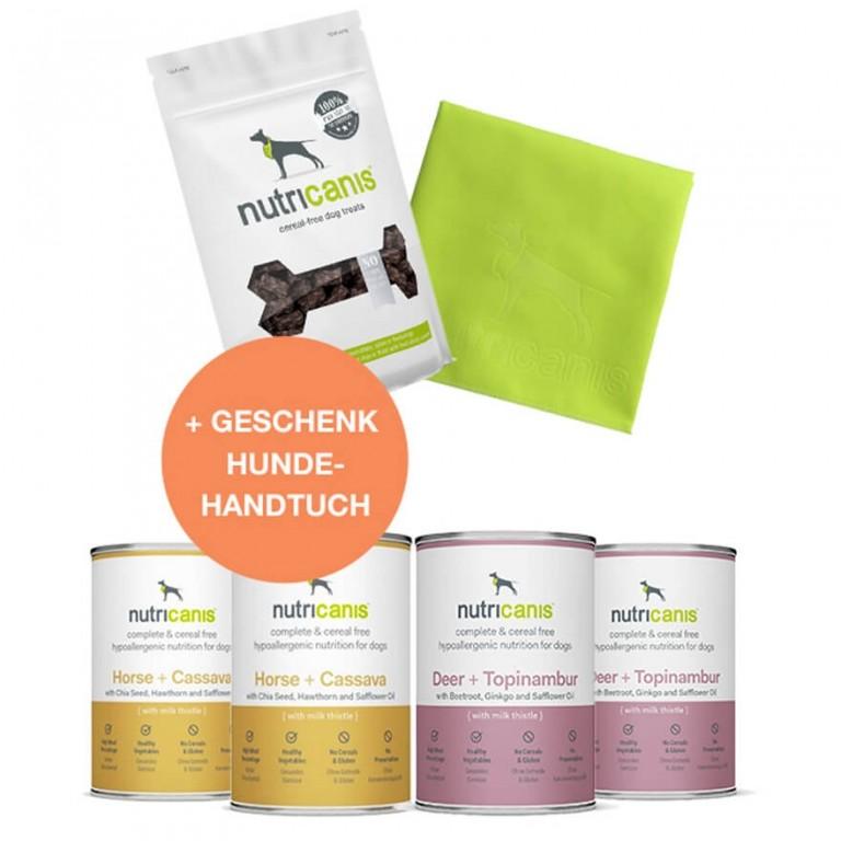 Schlemmerpaket 2 x Pferd + 2 x Hirsch + Snacks + gratis: Hundehandtuch
