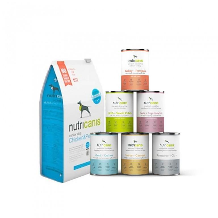 Hundefutter Kennenlernpaket Light/Senior: Trockenfutter (1kg) & Nassfutter (je 400g)