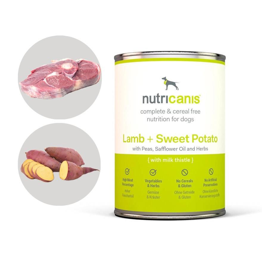 Nassfutter Hund: Lamm + Süßkartoffel mit Mariendistel