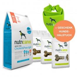 Aktionspreis: Trockenfutter Senior + Snacks + gratis Hundehalstuch