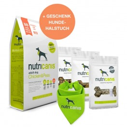 Aktionspreis: Trockenfutter + Snacks + gratis Hundehalstuch