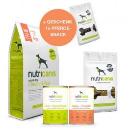 Schlemmerpaket Trockenfutter + Nassfutter + Snacks + gratis Snack