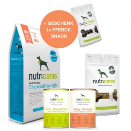 Schlemmerpaket Trockenfutter Senior + Nassfutter + Snacks + gratis Snack