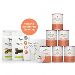 Kennenlernpaket Welpen: Welpen-Nassfutter Pute, Deckel & Snacks