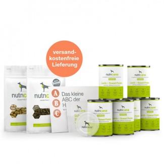 Kennenlernpaket Welpen: Welpen-Nassfutter Lamm, Deckel & Snacks