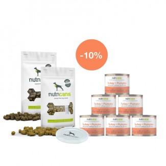 Kennenlernpaket Welpen: 6 x 200 g Welpen-Nassfutter Pute, Deckel & Snacks