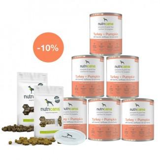 Kennenlernpaket Welpen: 6 x 800 g Welpen-Nassfutter Pute, Deckel & Snacks