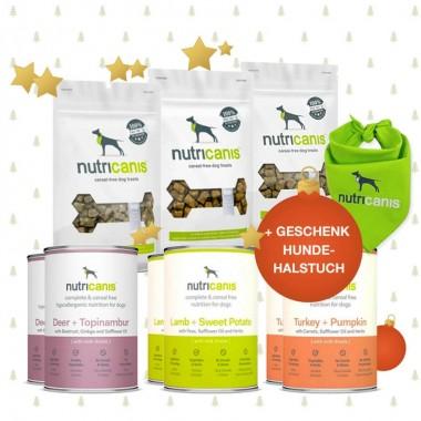 Schlemmerpaket 2 x Hirsch, 2 x Lamm, 2 x Pute, 3 x Snacks + gratis Hundehalstuch